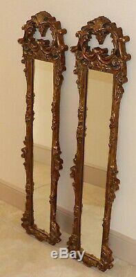 Vintage Pair 1970s Gold Tone Carved Resin Frame Wall Mirror