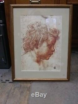 Vintage Print by G Firenze Gold Framed Print Wall Hanging wire on back (C6-T)