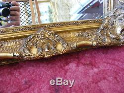 Vintage Rococo French Antique Style Ornate Gold Gilt Gild Frame Wall Mirror