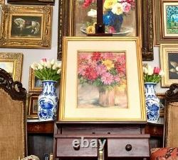 Vintage Signed Floral Oil Painting In Golden Frame Beautiful Wall Art Gift