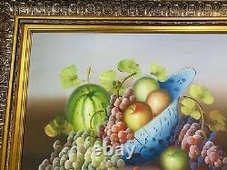 Vintage Still Life Fruit Basket Oil Painting Gold Color Frame 31 x 27 Wall Art