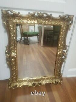 Vintage Syroco Hollywood Regency Gold Gilt Ornate Framed Wall Mirror 28.5x22.5