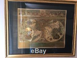 Vintage Teal & Gold Foiled Blaeu Wall Map of New World 30 x 25 Matted Framed