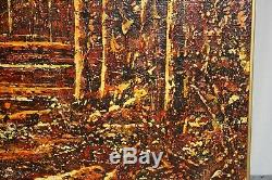 Vintage Textural Impressions Abstract Trees Wall Art Wood Surface Gold Frame