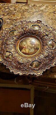 Vintage Victorian Scene Porcelain Plate in Metal Gold Tone Wall Frame Italian