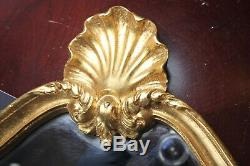 Vintage Wall Mirror Ornate Gold Wooden Frame. Wall Hook Hanging Mirror