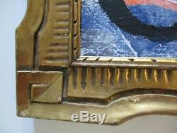 Vintage Wood Sculpture Antique Art Nouveau Frame Deco Gold Abstract Painting