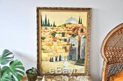 Vintage signed original acrylic painting of The Wailing Wall Jerusalem in gold g