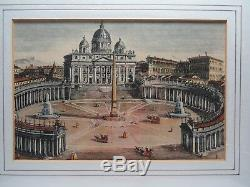 Vtg Antique Gold Framed Print Hand Colored Engraving Wall Art Hangings Roman