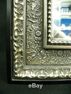 Vtg. ENTREE LaBarge Silver Gilded Accent Wall Mirror with Black Frame 14 x 12