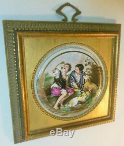 Vtg Gold Frame Enameled Porcelain ART Wall Plaque Italian Caravaggio Sungott