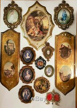 Vtg Lot 13 Wall Decor Italy Plaques Frames Hollywood Regency Gilt Gold Toleware