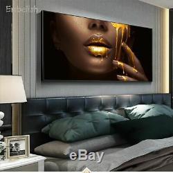 Wall Art Women Face Golden Liquid Living Room Home Decor HD Canvas Paintings