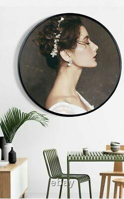 Wall Hanging Frame Round Photo Metal Living Room Creative Brushed Decoration