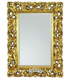 Wall Mirror 85x62 cm Antique Baroque in Gold Frame with Facetteschliff Woe