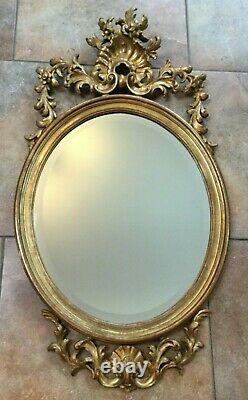 Wall Mirror Hand Carved Wood Gold Italian hand crafted purchased 1978 Harrods