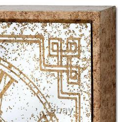 Wall Mirrored Industrial Framed Gold Square Clock with Mechanisms Home New