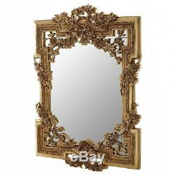 Wild Roses Gold Ornate Wall Mirror Clamshell & Garland Detail Living Room Decor
