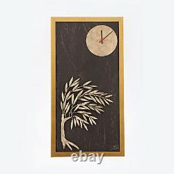 Wood & Metal, Olive Tree & Round Clock Framed Wall Art Ornament Gold Color