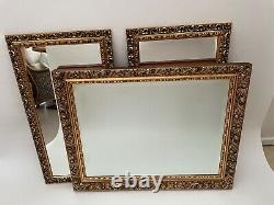 X3 Large vintage gilt gold ornate framed wall mirrors