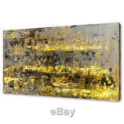 Yellow Brown Grey Gold Abstract Painting Style Canvas Print Wall Art Picture